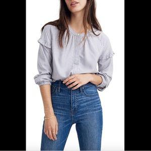 NEW Madewell Stripe Collarless Ruffle Sleeve Shirt